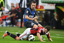 07.10.2012, Giuseppe Meazza Stadion, Mailand, ITA, Serie A, AC Mailand vs Inter Mailand, 7. Runde, im Bild 07.10.2012, Giuseppe Meazza Stadion, Mailand, ITA, Serie A, AC Mailand vs Inter Mailand, 7. Runde, im Bild Antonio Cassano Inter, Daniele Bonera Milan // during the Italian Serie A 7th round match between AC Milan and Inter Milan at the Giuseppe Meazza Stadium, Milan, Italy on 2012/10/07. EXPA Pictures © 2012, PhotoCredit: EXPA/ Insidefoto/ Andrea Staccioli..***** ATTENTION - for AUT, SLO, CRO, SRB, SUI and SWE only *****