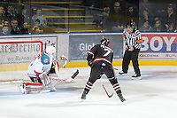 KELOWNA, CANADA - FEBRUARY 18: Alex Petrovic #7 of the Red Deer Rebels takes a shot on the net of Adam Brown #1 of the Kelowna Rockets as the Red Deer Rebels visit the Kelowna Rockets on February 18, 2012 at Prospera Place in Kelowna, British Columbia, Canada (Photo by Marissa Baecker/Shoot the Breeze) *** Local Caption ***