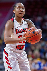 NORMAL, IL - December 20: Viria Livingston shoots a free throw during a college women's basketball game between the ISU Redbirds and the St. Louis Billikens on December 20 2018 at Redbird Arena in Normal, IL. (Photo by Alan Look)