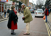 © Licensed to London News Pictures. 12/02/2013. Eastleigh, UK Former Conservative MP Neil Hamitlon talks to a woman on Market Street, while campaigning on behalf of UKIP. Campaigning in the weeks ahead of The Liberal Democrats winning the Eastleigh by-election, with the UK Independence Party pushing the Conservatives into third place.. Photo credit : Stephen Simpson/LNP