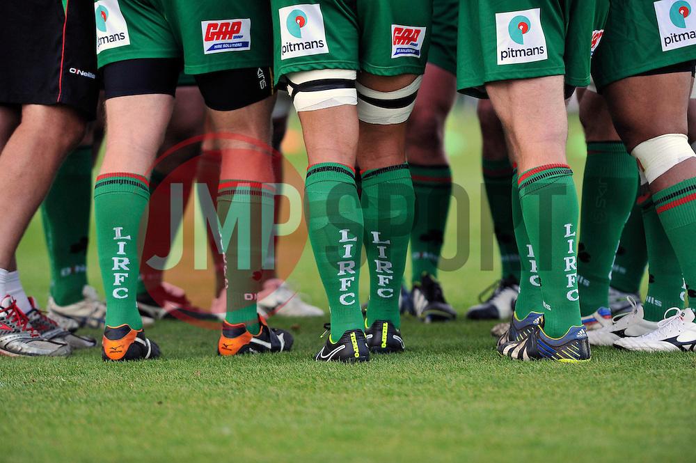 A general view of London Irish socks - Photo mandatory by-line: Patrick Khachfe/JMP - Mobile: 07966 386802 22/08/2014 - SPORT - RUGBY UNION - Middlesex - Hazelwood - London Irish v Bristol Rugby - Pre-Season Friendly