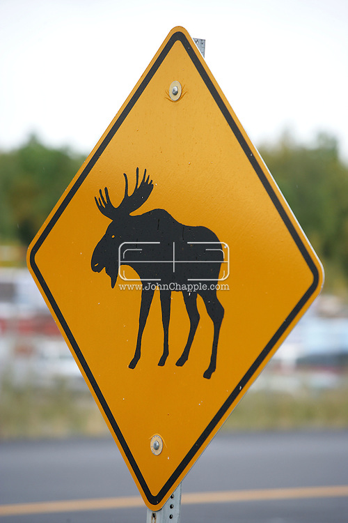 12th September 2008, Wasilla, Alaska. A sign warns motorist that moose are present in the hometown of Alaskan Governor, Sarah Palin. Palin is the US Republican Vice Presidential pick. PHOTO © JOHN CHAPPLE / REBEL IMAGES.tel: +1-310-570-910