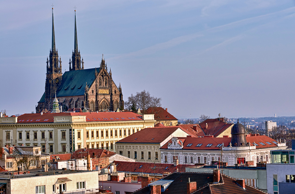 View of the St, Peter and Paul, Petrov, Cathedral in Brno, Czech Republic.