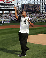 CHICAGO - OCTOBER 4:  Frank Thomas #35 of the Chicago White Sox throws out a ceremonial first pitch at U.S. Cellular Field on October 4, 2005 in Chicago, Illinois prior to Game 1 of the American League Divisional Series between the Boston Red Sox and the Chicago White Sox.  Thomas played for the White Sox from 1990-2005.  (Photo by Ron Vesely)