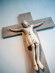 Ivory Crucifix from twelfth century hanging in Kolumba Museum in Cologne Germany