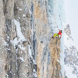 Jon Walsh climbing a new mixed climb called Scar Tissue in Storm Creek, BC