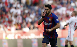 February 23, 2019 - Seville, Madrid, Spain - Luis Suarez (FC Barcelona) seen celebrating after scoring a goal during the La Liga match between Sevilla FC and Futbol Club Barcelona at Estadio Sanchez Pizjuan in Seville, Spain. (Credit Image: © Manu Reino/SOPA Images via ZUMA Wire)