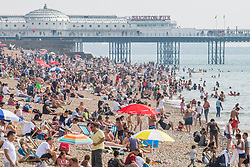 © Licensed to London News Pictures. 28/08/2017. Brighton, UK. Thousands of people enjoy the last day of the August Bank Holiday sunbathing on the beach in Brighton and Hove. Photo credit: Hugo Michiels/LNP