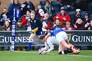 England player Jessica Breach scores the first try of the first half during the Women's 6 Nations match between England Women and France Women at the Keepmoat Stadium, Doncaster, England on 10 February 2019.