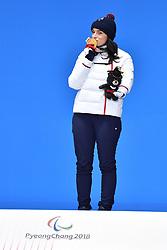 BOCHET Marie LW6/8-2 FRA, ParaSkiAlpin, Para Alpine Skiing, Downhill, Descente, Podium at PyeongChang2018 Winter Paralympic Games, South Korea.