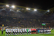 Teams line up for the national anthems during the International Friendly match between Germany and England at Signal Iduna Park, Dortmund, Germany on 22 March 2017. Photo by Phil Duncan.