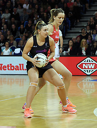 New Zealand's Gina Crampton plays in front of England's Sara Bayman in the Taini Jamison Trophy netball series match at Te Rauparaha Arena, Porirua, New Zealand, Thursday, September 07, 2017. Credit:SNPA / Ross Setford  **NO ARCHIVING**