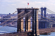 Brooklyn Bridge, designed by John Augustus Roebling, Connecting Brooklyn and Manhattan, New York City, NY