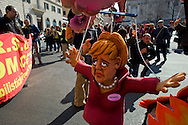 Roma 9 Marzo 2012.Manifestazione nazionale della FIOM, il sindacato dei metalmeccanici, a difesa dell'articolo 18  e contro il governo Monti. Un pupazzo che rappresenta la Merkel.Rome 9 March 2012.National demonstration of FIOM, the metalworkers' union, in defense of Article 18 and against  the Monti government.