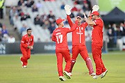 Lancashires Alex Davies claims a wicket during the Vitality T20 Blast North Group match between Lancashire Lightning and Birmingham Bears at the Emirates, Old Trafford, Manchester, United Kingdom on 10 August 2018.