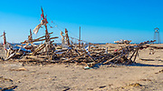 Old Wood Broken Pirate Ship in Bombay Beach