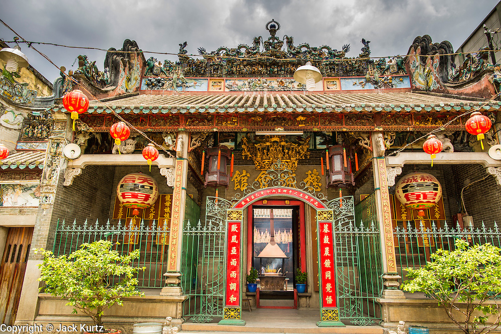"""12 APRIL 2012 - HO CHI MINH CITY, VIETNAM:   The front of Chùa Bà Thiên Hu (The Pagoda of the Lady Thien Hau), a Chinese style temple located on Nguyen Trai Street in Cholon. It is dedicated to Thiên Hu, the Lady of the Sea (""""Tian Hou"""" as transcribed from the Chinese). Cholon is the Chinese-influenced section of Ho Chi Minh City (former Saigon). It is the largest """"Chinatown"""" in Vietnam. Cholon consists of the western half of District 5 as well as several adjoining neighborhoods in District 6. The Vietnamese name Cholon literally means """"big"""" (lon) """"market"""" (cho). Incorporated in 1879 as a city 11km from central Saigon. By the 1930s, it had expanded to the city limit of Saigon. On April 27, 1931, French colonial authorities merged the two cities to form Saigon-Cholon. In 1956, """"Cholon"""" was dropped from the name and the city became known as Saigon. During the Vietnam War (called the American War by the Vietnamese), soldiers and deserters from the United States Army maintained a thriving black market in Cholon, trading in various American and especially U.S Army-issue items.        PHOTO BY JACK KURTZ"""