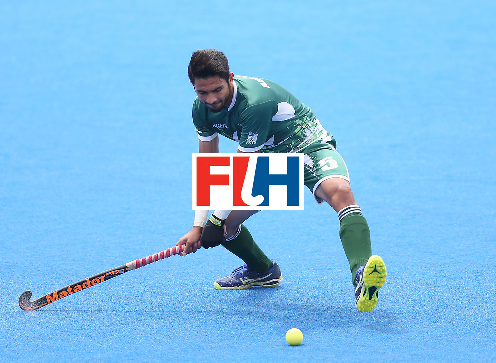 LONDON, ENGLAND - JUNE 24:  Abu Mahmood of Pakistan in action  during the 5th-8th place match between Pakistan and India on day eight of the Hero Hockey World League Semi-Final at Lee Valley Hockey and Tennis Centre on June 24, 2017 in London, England.  (Photo by Steve Bardens/Getty Images)