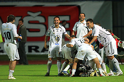 Players of Interblock (L Dario Zahora and Ermin Rakovic) celebrating after Slovenian Supercup between NK Domzale and NK Interblock, on July 9, 2008, in Domzale. Interblock won the mach and Supercup by 7 : 6 after penalty shots. (Photo by Vid Ponikvar / Sportal Images)