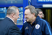 QPR Manager Neil Warnock and Leeds United manager Steve Evans before the Sky Bet Championship match between Queens Park Rangers and Leeds United at the Loftus Road Stadium, London, England on 28 November 2015. Photo by Andy Walter