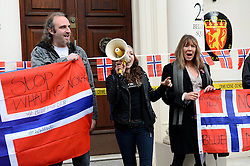 Protesters take part in the 'Blue Murder' stop whaling protest outside of the Norwegian Embassy as part of a worldwide anti-whaling initiative. Friday, 8th November 2013. Picture by Ben Stevens / i-Images