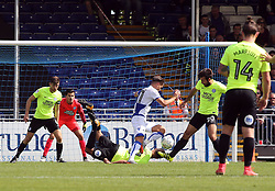 Steven Taylor of Peterborough United attempts to block Tom Nichols of Bristol Rovers with his head - Mandatory by-line: Joe Dent/JMP - 12/08/2017 - FOOTBALL - Memorial Stadium - Bristol, England - Bristol Rovers v Peterborough United - Sky Bet League One