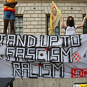 Hundreds anti-fascist Stand up to the racist DFLA demonstration in London, UK