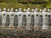 close up of Jizo figurines