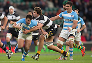 Twickenham, United Kingdom, Lood DE JAGER, gets togrips with Santiago GONZALES INGLESIAS, during the Killik Cup Match, Barbarians vs Argentina, RFU Stadium, Twickenham, England,<br /> <br /> Saturday    21/11/2015  <br /> <br /> [Mandatory Credit; Peter Spurrier/Intersport-images]