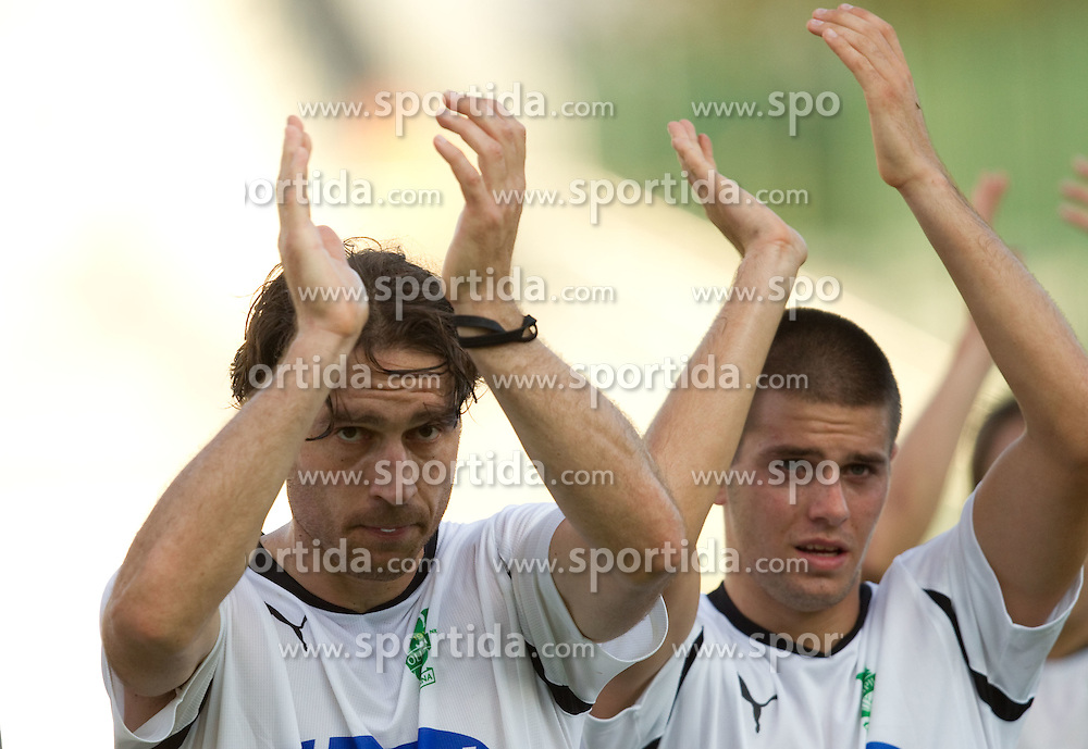 Tomo Sokota of Olimpija, Stefan Smiljanic of Olimpija celebrate after the football match between NK Triglav Gorenjska and NK Olimpija, played in the 9th Round of Prva liga football league 2010 - 2011, on September 19, 2010, Mestni stadion, Kranj, Slovenia. Olimpija defeated Triglav 5 - 0. (Photo by Vid Ponikvar / Sportida)