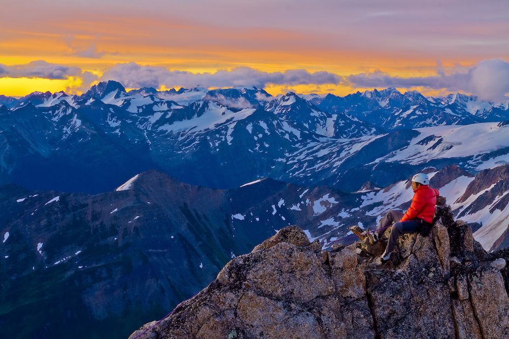 Sunrise on Eastpost Spire, Bugaboo Provincial Park, BC, Canada