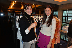 LONDON, ENGLAND 2 DECEMBER 2016: <br /> Left to right, Tessa Packard, Kim Nayar at a breakfast attended by a host of influencers, press and VIPs to celebrate the official launch of EVARAE the new British luxury resort wear brand, held at The Hari Hotel, 20 Chesham Place, London.  England. 2 December 2016.