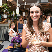 Lucy weston @littleluxuryfood sattend the Oppo party to launch its new Madagascan Vanilla, Sicilian Lemon and Raspberry Cheesecakes, served with Skinny Prosecco at Farm Girls Café, 1 Carnaby Street, Soho, London, UK on July 18 2018.