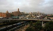Traffic flows on an overpass near the business and financial hub of Karachi, Pakistan.