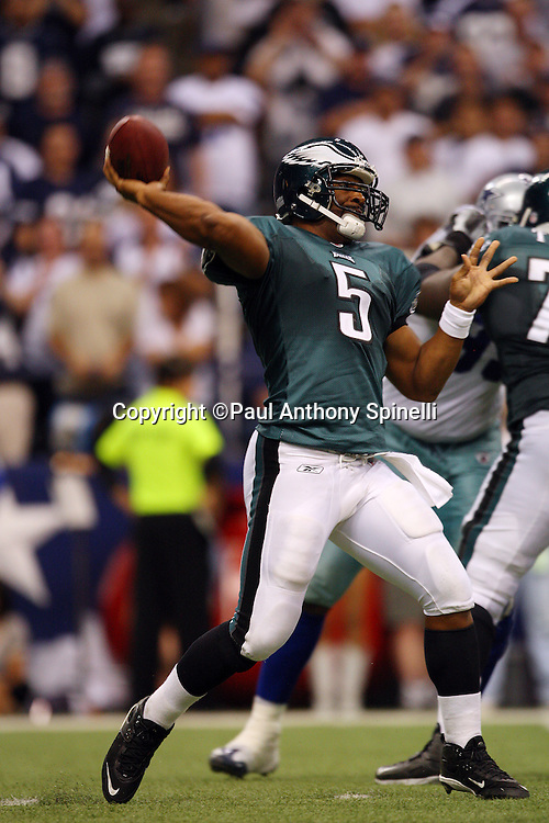 IRVING, TX - SEPTEMBER 15:  Quarterback Donovan McNabb #5 of the Philadelphia Eagles throws a pass during the game against the Dallas Cowboys at Texas Stadium on September 15, 2008 in Irving, Texas. The Cowboys defeated the Eagles 41-37. ©Paul Anthony Spinelli *** Local Caption *** Donovan McNabb
