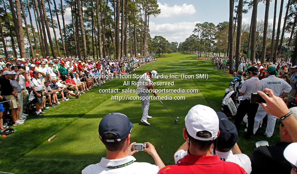 April 9, 2013 - Augusta, GA, USA - Adam Scott hits his tee shot on the 17th hole during a practice round ahead of The Masters at Augusta National Golf Club in Augusta, Georgia, on Tuesday, April, 9, 2013