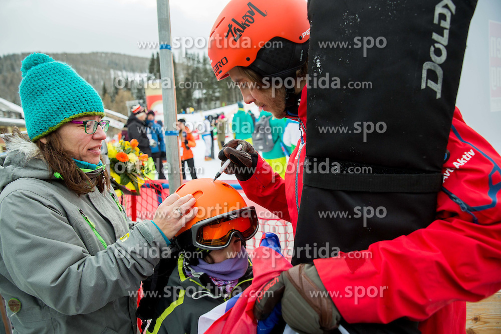 Zan Kosir of Slovenia with fans after placed second during Men's Parallel Giant Slalom at FIS World Championships of Snowboard and Freestyle 2015, on January 23, 2015 at the WM Piste in Kreischberg, Austria. Photo by Vid Ponikvar / Sportida