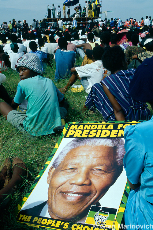 Nelson Mandela speak to supporters in 1994 during his electrion campaign that spanned the country and saw him win the first ever democratic non-racial elections in South Africa.