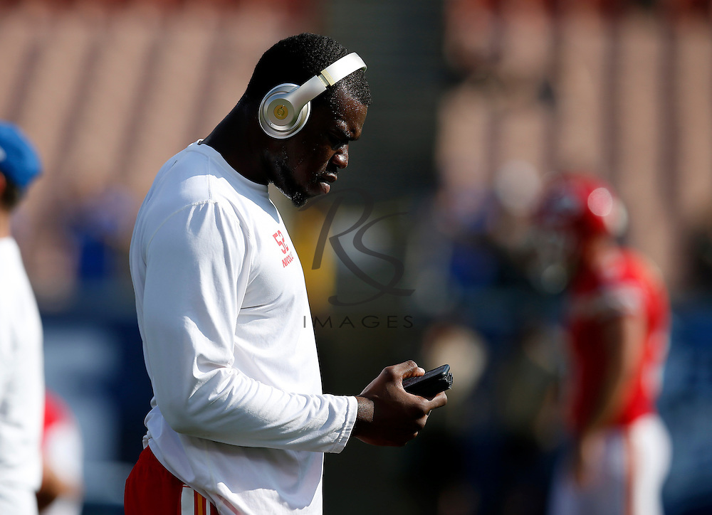 Kansas City Chiefs linebacker Dadi Nicolas stands on the filed prior to a preseason NFL football game against the Los Angeles Rams, Saturday, Aug. 20, 2016, in Los Angeles. (AP Photo/Rick Scuteri)
