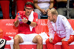 02.02.2018, VAZ, St. Pölten, AUT, Davis Cup, Österreich vs Weissrussland, Europa-Afrika-Zone, 1. Runde, im Bild Gerald Melzer (AUT) am Freitag, 02. Februar 2018, während seines Spiels gegen Ilya Ivashka (BLR) // Gerald Melzer of Austria during the Davis Cup - Europe - African zone - 1st Round between Austria and Belarus at the VAZ in St. Pölten, Austria on 2018/02/02. EXPA Pictures © 2018, PhotoCredit: EXPA/ Sebastian Pucher