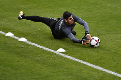 October 2, 2017 - Tubize, BELGIUM - Belgium's goalkeeper Thibaut Courtois pictured during a training of Belgian national soccer team Red Devils, Monday 02 October 2017 in Tubize. The Red Devils will play a World Championships 2018 Qualification game against Bosnia on October 7th and against Cyprus on October 10th...BELGA PHOTO DIRK WAEM (Credit Image: © Dirk Waem/Belga via ZUMA Press)