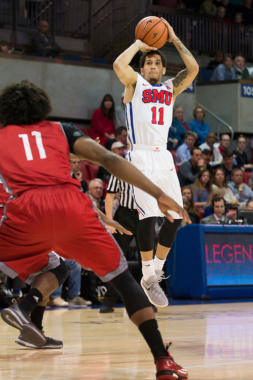 DALLAS, TX - DECEMBER 16: Nic Moore #11 of the SMU Mustangs shoots a 3-pointer against the Nicholls State Colonels on December 16, 2015 at Moody Coliseum in Dallas, Texas.  (Photo by Cooper Neill/Getty Images) *** Local Caption *** Nic Moore