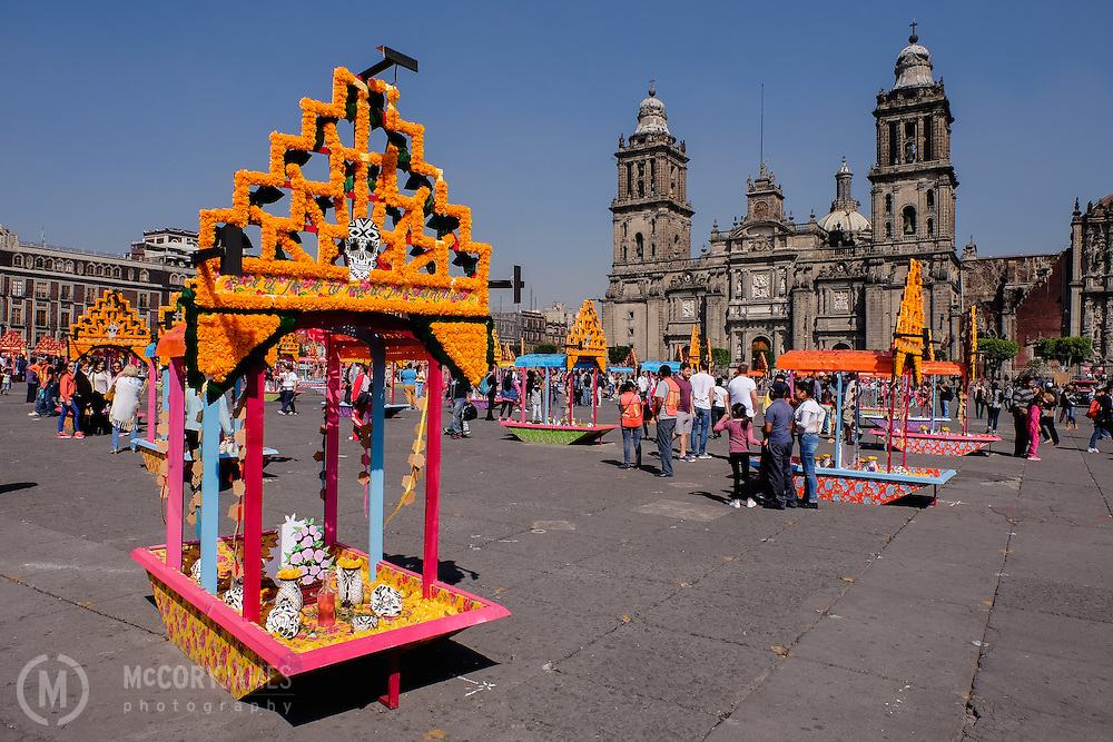 Altars on Zocalo square with Mexico City's Metropolitan Cathedral in background