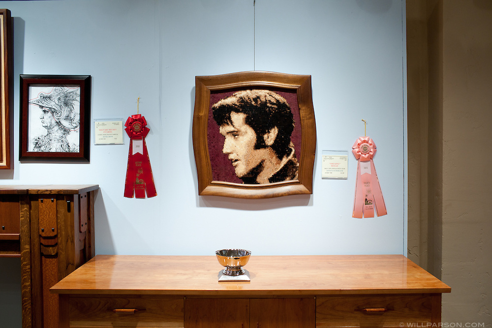 """A wood mosaic entitled """"The King"""" won fourth place in the veneering/marquetry category."""