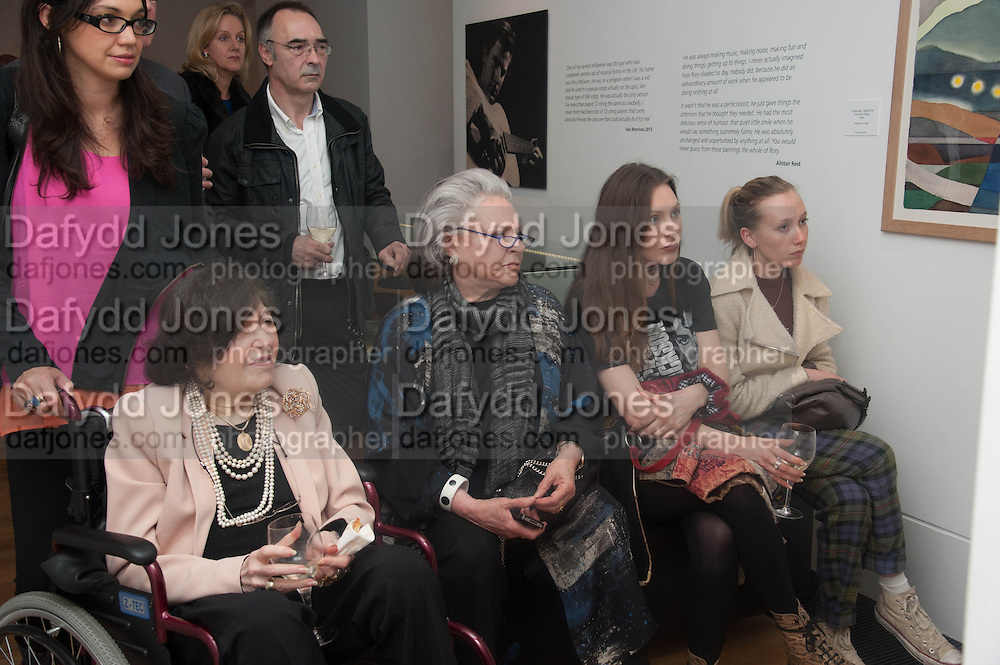 ROMANA MCEWEN; PAMELA LADY HARLECH; ROSIE HOLLAND; MABEL HOLLAND, Exhibition opening.- Rory McEwen - The Colours of Reality,   Shirley Sherwood Gallery of Botanical Art, Kew Gardens, TW9 2AH , London.  May 20, 2013