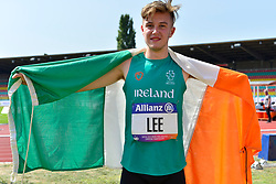 Lee Jordan, IRE celebrating his T47 High Jump Bronze medal win at the Berlin 2018 World Para Athletics European Championships