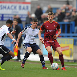 TELFORD COPYRIGHT MIKE SHERIDAN 5/1/2019 - Brendon Daniels and Ross White of AFC Telford close down Glen Taylor during the Vanarama Conference North fixture between AFC Telford United and Spennymoor Town.