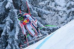 KITZBUHEL AUSTRIA. 22-01-2011. Yannick Bertrand (FRA) speeds down the course competing in the 71st Hahnenkamm downhill race part of  Audi FIS World Cup races in Kitzbuhel Austria.  Mandatory credit: Mitchell Gunn