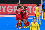 Ok Ju Kim of Korea scores a goal (1-1) and celebrates with team mates during the Vitality Hockey Women's World Cup 2018 Pool A match between Korea and China at the Lee Valley Hockey and Tennis Centre, QE Olympic Park, United Kingdom on 29 July 2018. Picture by Martin Cole.