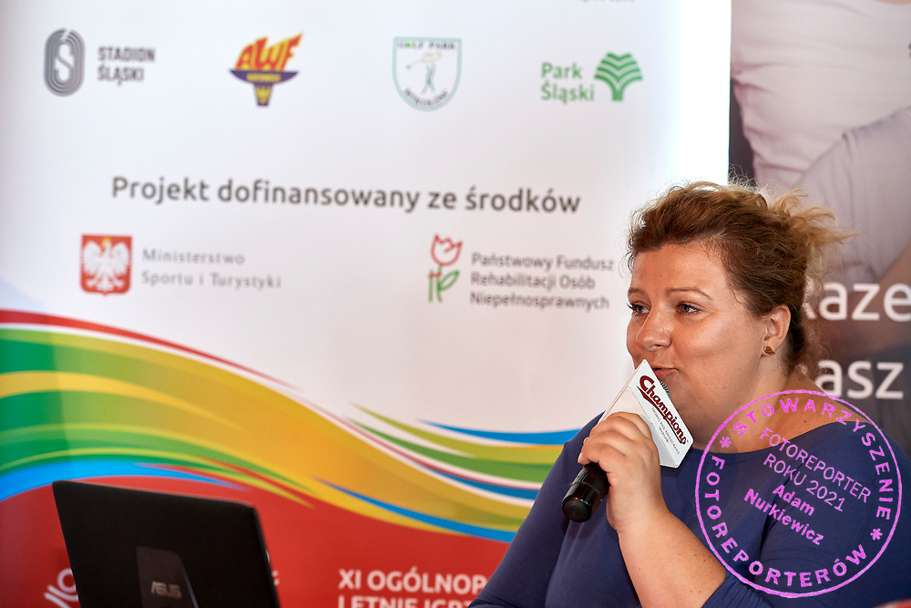 Warsaw, Poland - 2018 May 10: Joanna Styczen National Director of Special Olympics Poland speaks Special Olympics Press Conference at Marriott Champions Sport Bar on May 10, 2018 in Warsaw, Poland.<br /> <br /> Adam Nurkiewicz declares that he has no rights to the image of people at the photographs of his authorship.<br /> <br /> Picture also available in RAW (NEF) or TIFF format on special request.<br /> <br /> Any editorial, commercial or promotional use requires written permission from the author of image.<br /> <br /> Image can be used in the press when the method of use and the signature does not hurt people on the picture.<br /> <br /> Mandatory credit:<br /> Photo by &copy; Adam Nurkiewicz / Mediasport